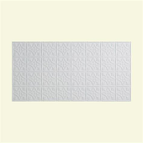 fasade traditional 1 2 ft x 4 ft glue up ceiling tile in matte white g50 01 the home depot