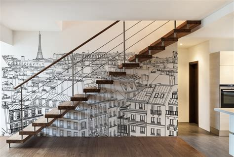 d 233 coration d un escalier papiers peints personnalis 233 s vue sur contemporain escalier