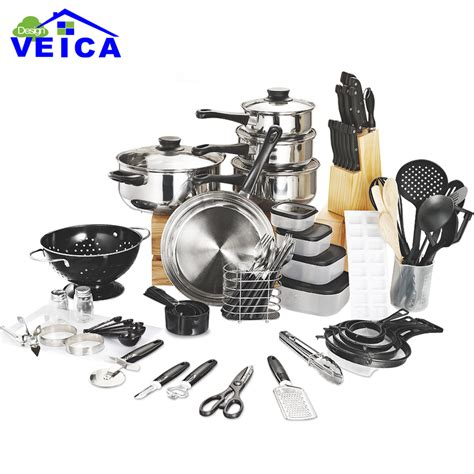 top fashion real cookware cooking pots and pans set 80 kitchen starter combo utensil in