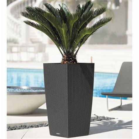 pot lechuza cubico cottage l30 h56 cm granit plantes et