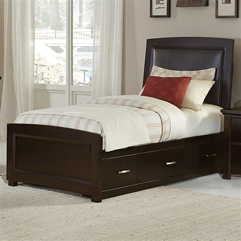 vaughan bassett transitions upholstered bed chocolate bonded leather with storage olinde