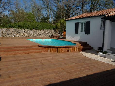 habillage bois d une piscine semi enterr 233 e pose parquet var sppr
