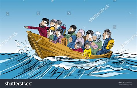 People On A Boat by Concept Refugee People Boat Floating Sea Stock Vector