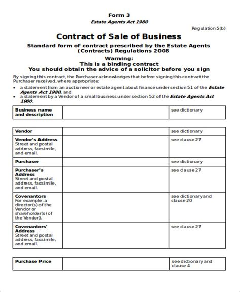 business sale contract free template vic 6 business contract templates free sle exle