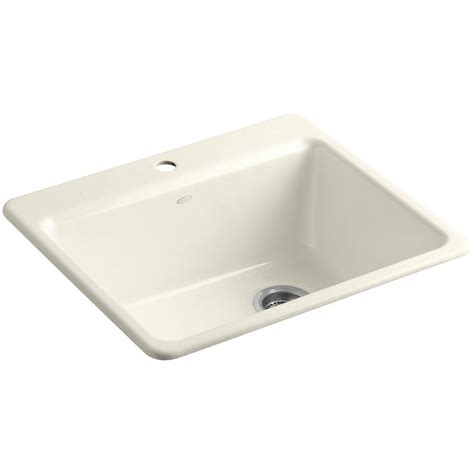 kohler riverby drop in cast iron 25 in 1 single bowl kitchen sink kit with bowl rack in