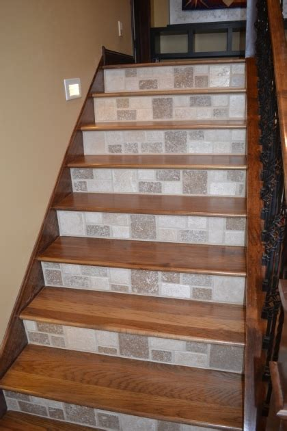 wood stair treads with tile risers staircase installation