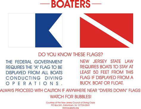 Boat Flags Rules by Nj Scuba Diving Rules