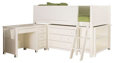 lea willow run low loft bed in linen white