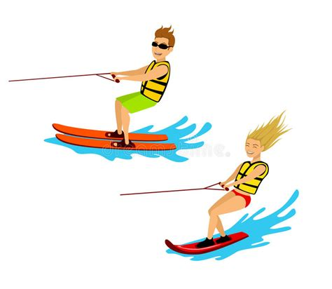 Cartoon Boat Wake by Man And Woman Riding Waterski And Wakeboard Stock Vector