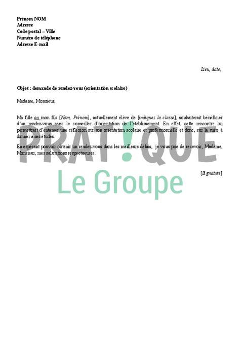 lettre de demande de rendez vous pour une orientation scolaire pratique fr