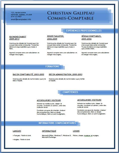 exle resume modele cv anglais telecharger gratuitement