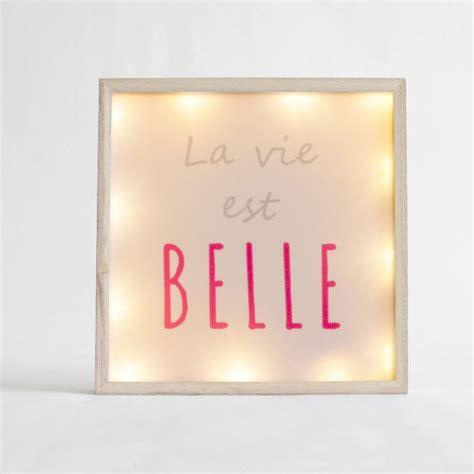 """Cadre Lumineux Carré """"la Vie Est Belle"""" Blanc"""