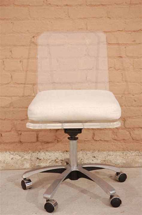 lucite swivel base desk chair with white cushion at 1stdibs