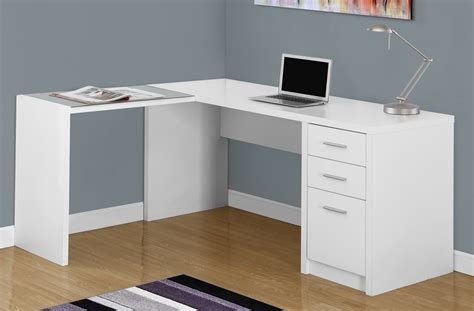 white corner computer desk w tempered glass monarch