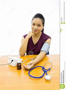 Woman Happy With Her Self Blood Pressure Test Stock Photo ...