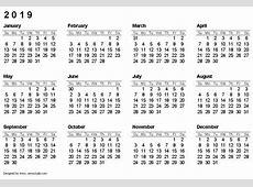 2019 Calendar calendar for 2019