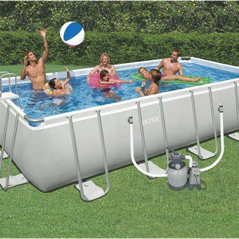 piscine hors sol autoportante tubulaire intex l 6 05 x l 3 3 x h 1 32 m leroy merlin