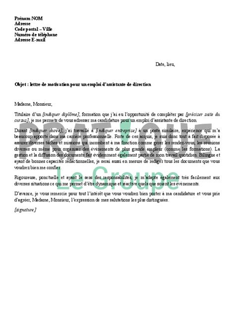 lettre de motivation assistante de direction employment application