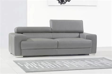 canap 233 3 places en cuir italien vivaldi gris clair
