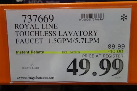 costco sale royal line touchless lavatory faucet 49 99 frugal hotspot