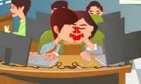 bisous en cachette au bureau jeu de fille