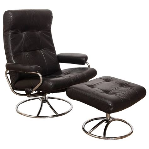 midcentury ekornes stressless reclining lounge chair and ottoman at 1stdibs
