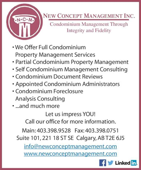 new concept management inc opening hours 101 221 18 st se calgary ab