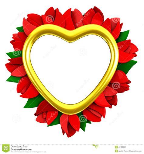 cadre de coeur avec les fleurs rouges 3d illustration stock image 49166412