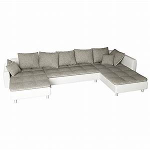 Sofa U Form Grau : sofa polsterecke vivara wei strukturstoff grau ecksofa ~ Markanthonyermac.com Haus und Dekorationen