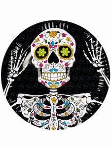 Teller Schwarz Weiß : tag der toten teller halloween teller set 6 st ck schwarz weiss bunt 23cm g nstige faschings ~ Markanthonyermac.com Haus und Dekorationen