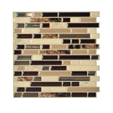 smart tiles 10 in x 10 125 in peel and stick mosaic decorative wall tile in bellagio 6 pack