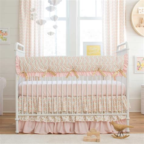 Pink Crib Bedding by Pale Pink And Gold Chevron Crib Bedding Carousel Designs