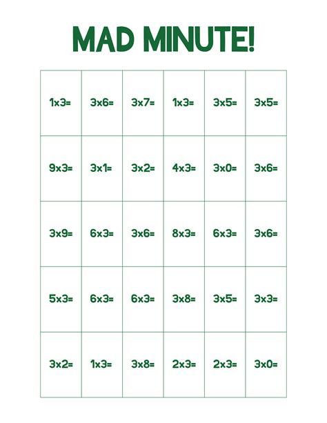 Multiplication And Division Mad Minute Worksheets  Multiplication Tables Quiz 0 12 Free Blank 7