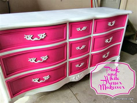 Black Dresser Pink Drawers by Pink And White Dresser Makeover 24 Cottonwood