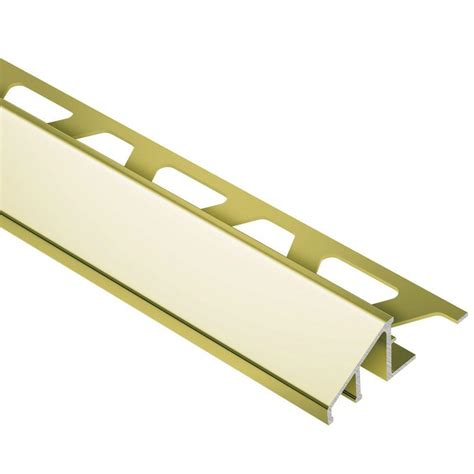 schluter reno u bright brass anodized aluminum 1 2 in x 8 ft 2 1 2 in metal reducer tile