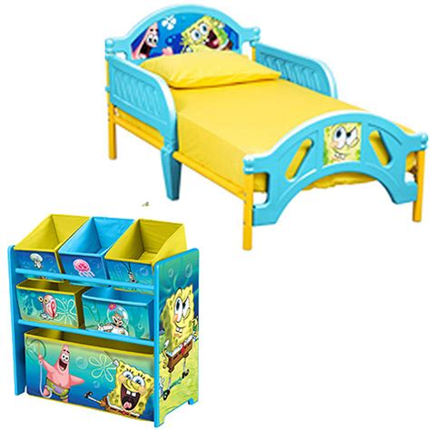 spongebob toddler bed and multi bin organizer bundle walmart