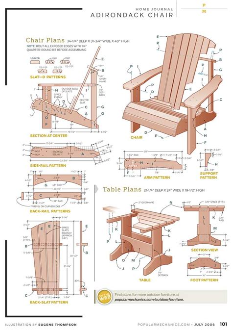 adirondack chair plan popular mechanics diy blueprint