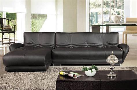 canap 233 d angle en cuir italien 5 places montparnasse noir mobilier priv 233