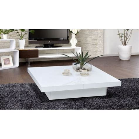 table basse design openable carr 233 e laqu 233 e blanche achat vente table basse table basse design