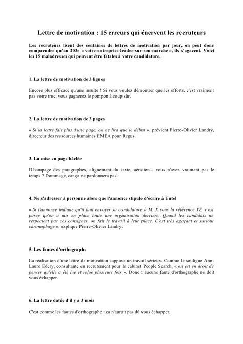 lettre de motivation 15 erreurs qui 233 nervent les recruteurs