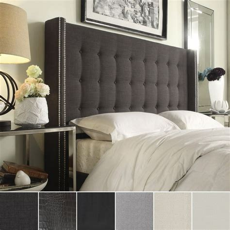 marion nailhead wingback button tufted size headboard by inspire q by inspire q