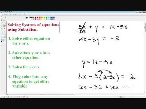 Solving Systems Of Equations  Substitution Method Youtube