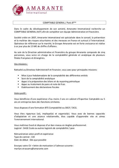 amarante international offre d emploi comptable general