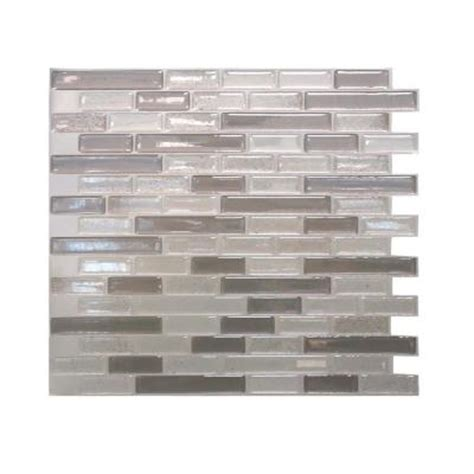 smart tiles muretto 10 25 in w x 9 125 in h beige mosaic decorative wall tile in light gray