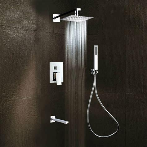 Square Rain Shower Head Faucet 3 Ways Valve Mixer Tap Tub