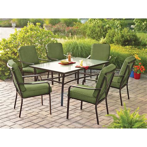 mainstays crossman 7 patio dining set green seats 6 walmart