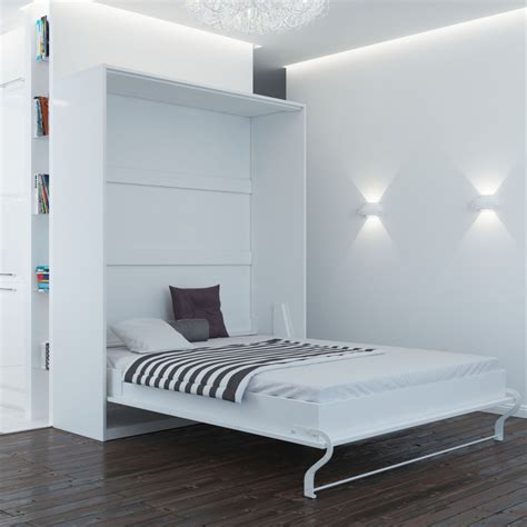 murphy bed 160 cm vertical white smart bed foldaway wall