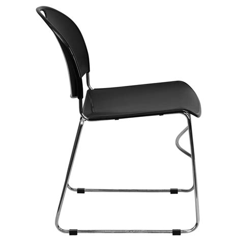 hercules series 880 lb capacity black ultra compact stack chair with chrome frame rut 188 bk