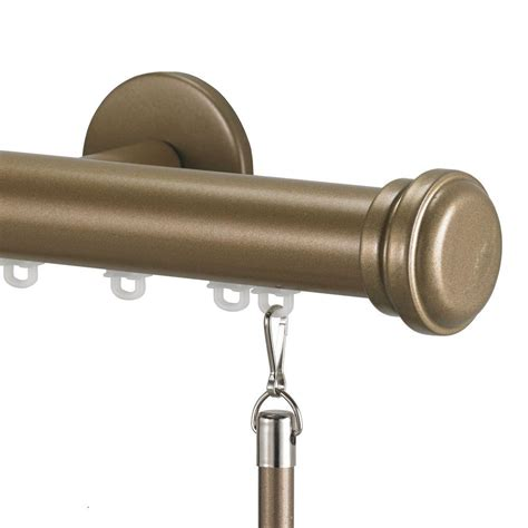 decor tekno 25 decorative 96 in traverse rod with empire finial in chagne i 54 5082 ch