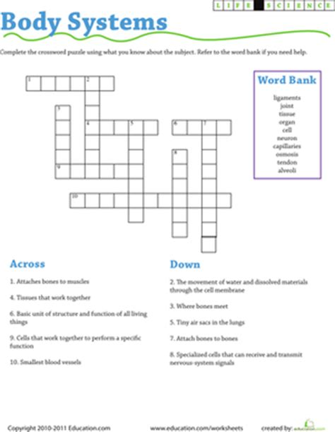Life Science Crossword Body Systems  Worksheet Educationcom